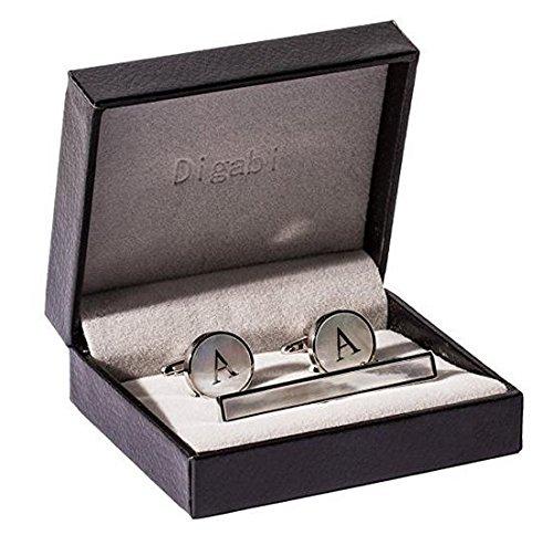 Mother of Pearl Men Tie Bar Clip Set Platinum Plated Cufflinks Tie Pin Fashion Alphabet Letter A-Z Chenghai Tiebarcilpcufflinks