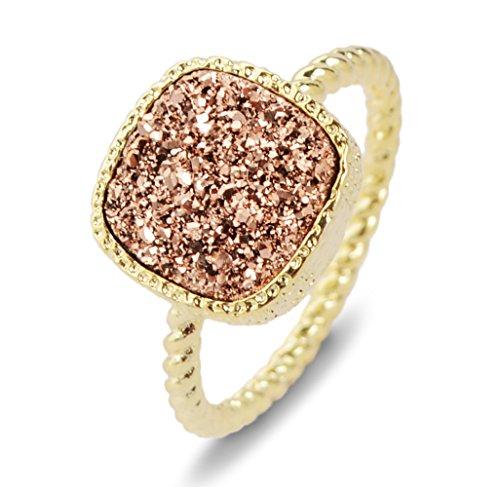 ZENGORI 12mm Gold Plated Square Rose Golden Natural Agate Titanium Druzy Ring for Women Size 6 ZG058-2C