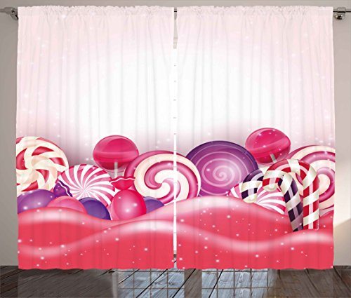 Ambesonne Modern Curtains, Cute Rainbow-Swirl Lollipop Candy
