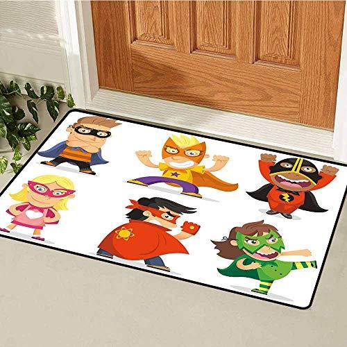 GloriaJohnson Superhero Welcome Door mat Children Dressed as Superheroes Kids Playroom Girls Boys Nursery Babyish Picture Door mat is odorless and Durable W31.5 x L47.2 Inch Multicolor -