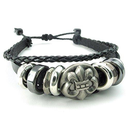 TEMEGO Mens Womens Fleur De Lis Leather Braided Cuff Bracelet,Adjustable Fits 7-9 inch, Black Silver