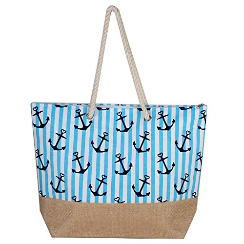 Heavy Shoulder Cotton Rope Handles Ship Anchor Hooks Printed Zipper Closure Women Straw Beach Premium Tote Bag by BB (Turquoise)