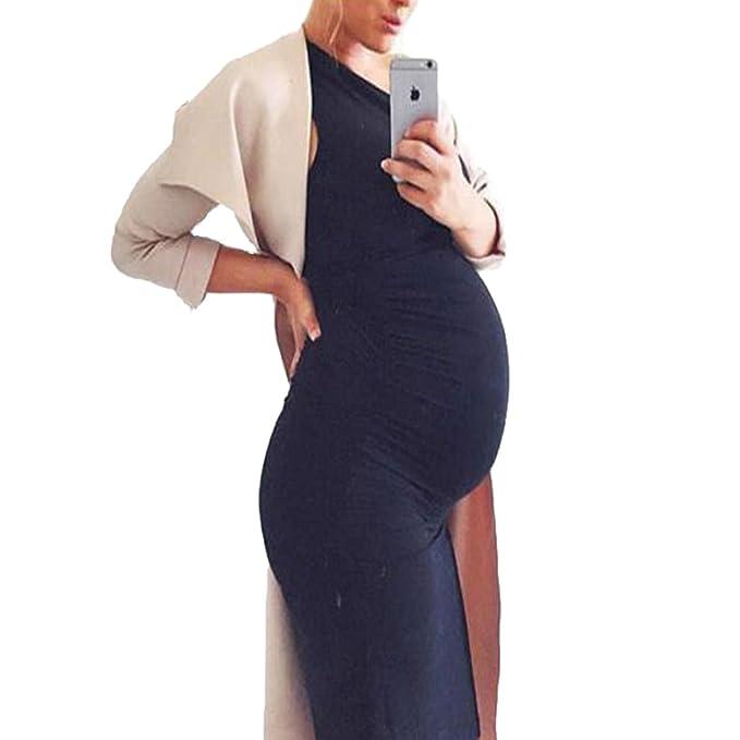 Yying Vestido de Lactancia de Maternidad Embarazadas Embarazadas Cuello Redondo Color Liso Vestido Atractivo Chaleco sin Mangas Vestido Cómodo: Amazon.es: ...