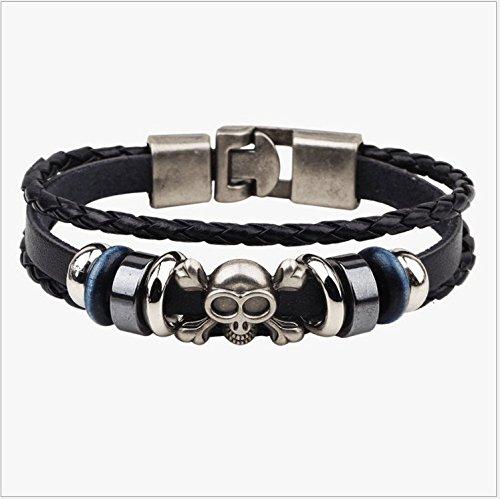 Men's Bracelet-Men's Skull Leather Bracelet-Gothic Stainless Steel Jewelry- Men's Black Leather Biker Rocker Wristband-Men's Jewelry Gift
