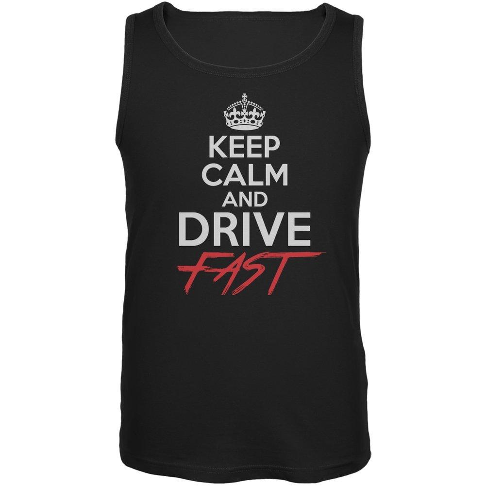 Old Glory Keep Calm Drive Fast Black Adult Tank Top