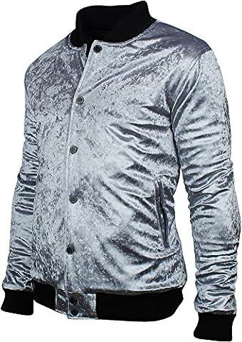 Angel Cola Men's Retro Metallic Velvet Stadium Varsity Bomber Jacket Silver S (Mens Metallic Silver Jacket)
