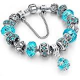 Pearl & Swarovski Crystal Dangling Love Charms Bracelet. Fancy Ladie-s Heart Collection.