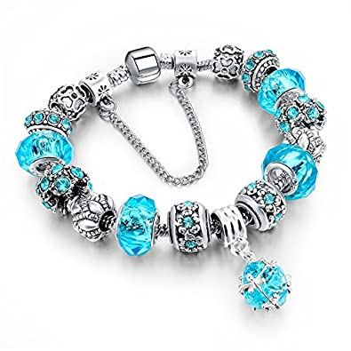 d8271c16e Chooseberry Luxe Collection Silver Plated Blue Austrian Crystal Bracelets  with Crystal Charms for Women & Girls Fashion Jewellery (Blue): Amazon.in:  ...