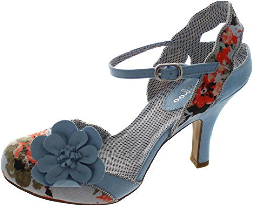 - Ruby Shoo Women's Sky Blue Floral Heidi Fabric Slingback Pumps UK 6 EU 39