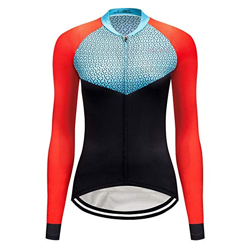 (XHYR Cycling Jersey Women's Long Sleeve Bicycle Tops Mountain Bike Shirts with Pockets)