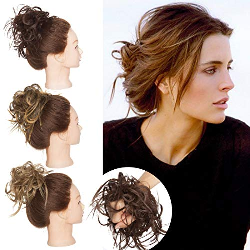 SEGO Tousled Updo Messy Bun Hair Piece Scrunchies Synthetic Wavy Bun Extensions Rubber Band Elastic Scrunchie Chignon Instant Ponytail Hairpiece for Women #M4 Medium Brown