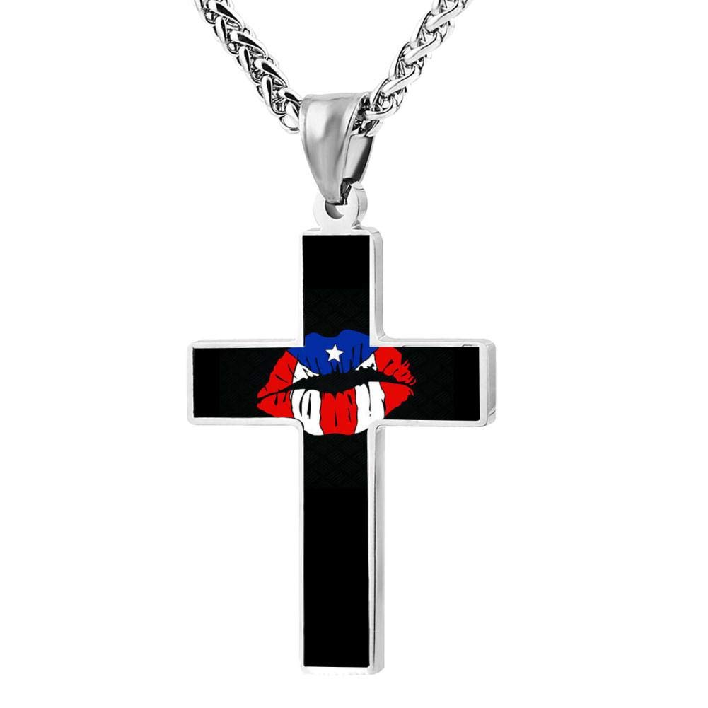 M100/% Lips with Puerto Metal Religious Zinc Alloy Stainless Silver Steel Cross Necklace Holder