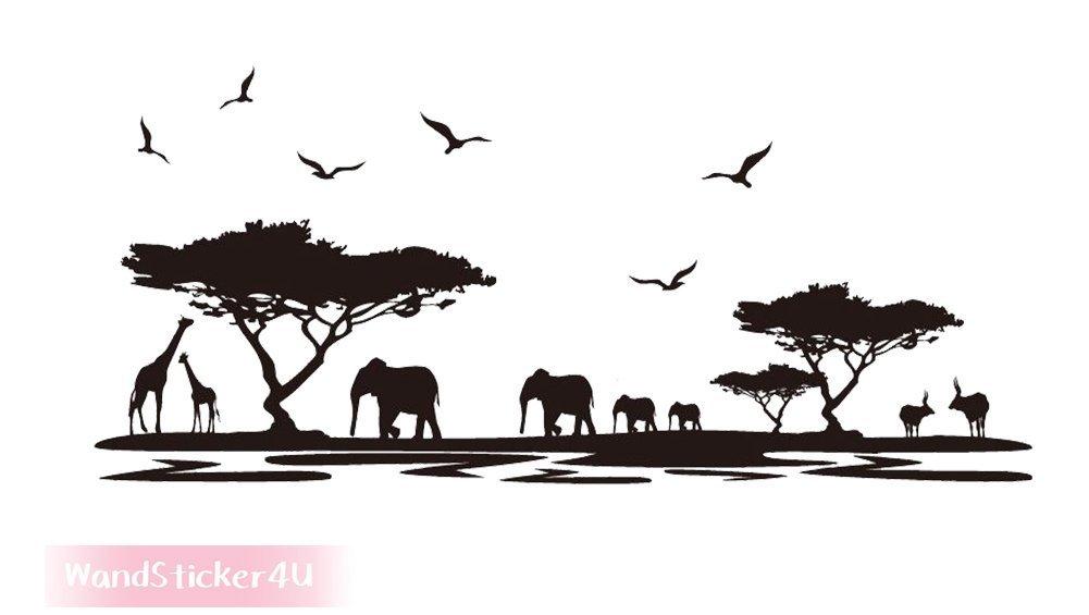 D/écoration Murale Sticker mural d/écoration pour salon Afrique Safari /Él/éphant Girafe arbre paysage chambre /à coucher, /Sticker mural mural Noir Effet image: 160/x 75/cm Savanne sticker4/