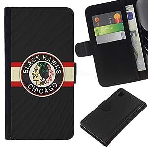 YiPhone /// Tirón de la caja Cartera de cuero con ranuras para tarjetas - HALCÓN NEGRO ICE HOCKEY - Sony Xperia Z1 L39