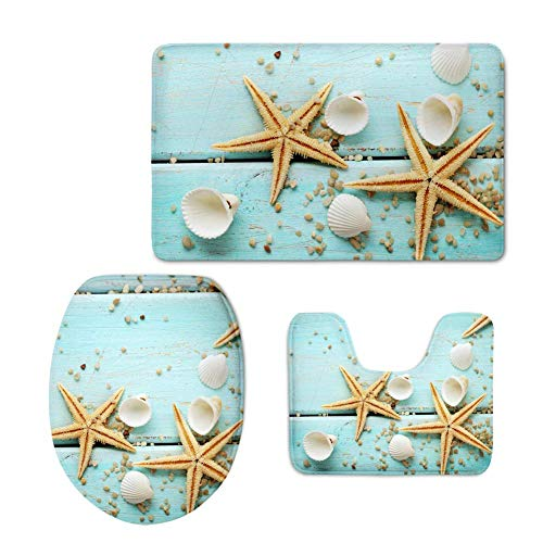 CoolToiletLidCoverCC Beach Seashells Starfish on The Rustic Bathroom Accessories Sets, 3 Piece Non Slip Healthier Lid Toilet Cover, Contour Mat Bath Area Rugs, Machine Washable
