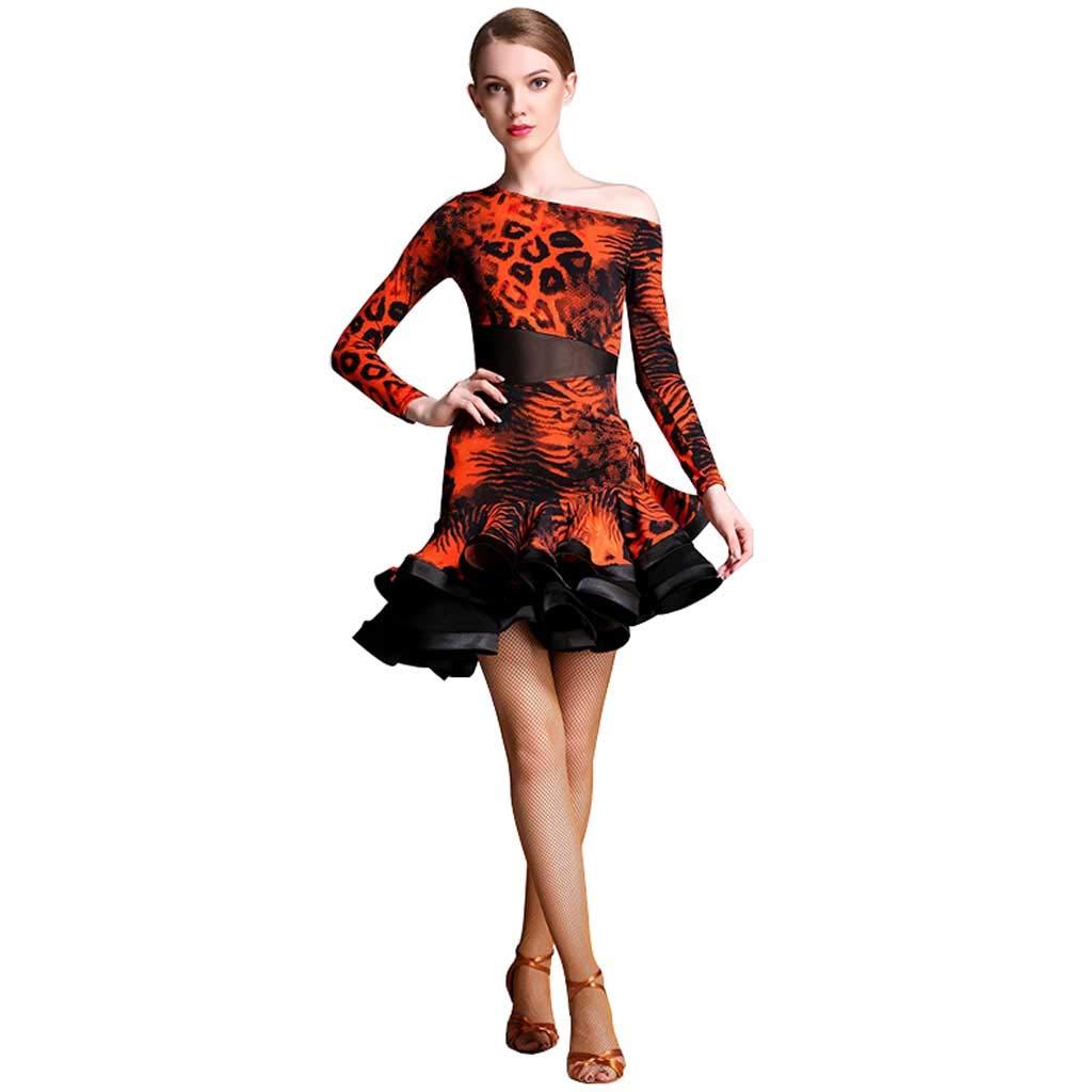 女性のアダルトラテンダンスドレス、ナショナルスタンダードダンスドレスラテンのパフォーマンススカート B07H9WRMR5 L l|オレンジ オレンジ L l