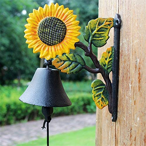 鋳鉄製のドアベル 素朴なレトロアイアンドアベル鋳鉄ひまわりハンドベルベルホーム壁画G ガーデン&ホーム&ストア&アウトドアデコレーション (Color : Multi-colored, Size : Free size)