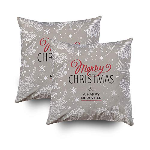 GROOTEY Decorative Cotton Square Set of 2 Pillow Case Covers with Zippered Closing for Home Sofa Decor Size 18X18Inch Costom Pillowcse Throw Cover Cushion,Halloween Christmas Poster Christmas for $<!--$18.55-->