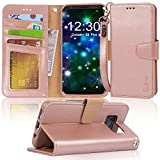 #10: Galaxy s8 plus Case, Arae [Wrist Strap] Flip Folio [Kickstand Feature] PU leather wallet case with ID&Credit Card Pockets For Samsung Galaxy s8 plus(NOT for galaxy s8), (Rosegold)