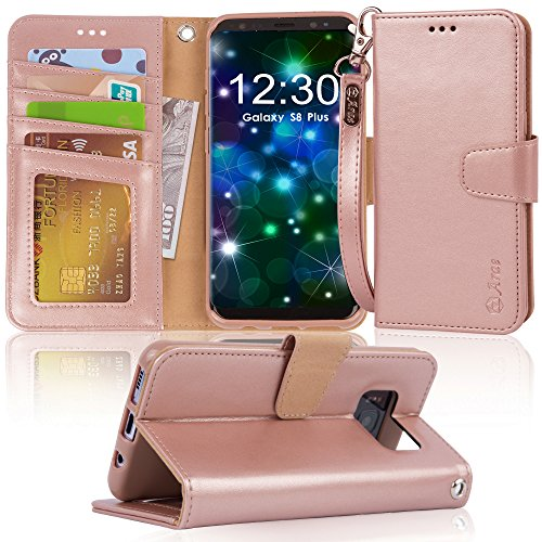 Galaxy s8 plus Case, Arae [Wrist Strap] Flip Folio [Kickstand Feature] PU leather wallet case with ID&Credit Card Pockets For Samsung Galaxy s8 plus(NOT for galaxy s8), (Rosegold)