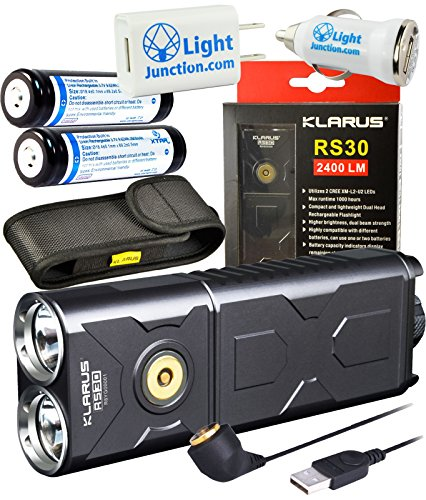 Klarus RS30 CREE XM-L2 U2 LED Compact and Lightweight Dual Head Rechargeable Flashlight 2400 Lumens w/ 2x Xtar 18650 2600mAh Li-ion Battery and Lightjunction USB Car & Wall Charger plug