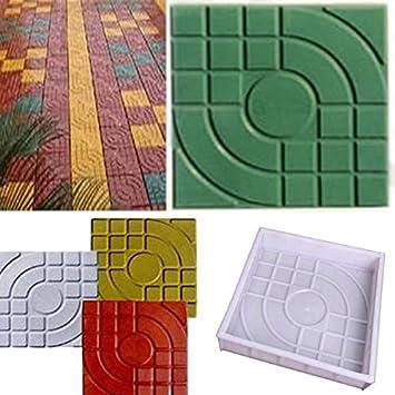 Bluelover 2Pcs Plaza Jardín Bricolaje Caminar Camino Fabricante De Pavimentación De Molde Del Ladrillo De Cemento: Amazon.es: Hogar