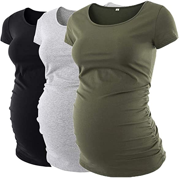 Love2Mi Womens Maternity Tops Baby Side Ruched T-Shirt Short Sleeve Pregnancy Mama Clothes
