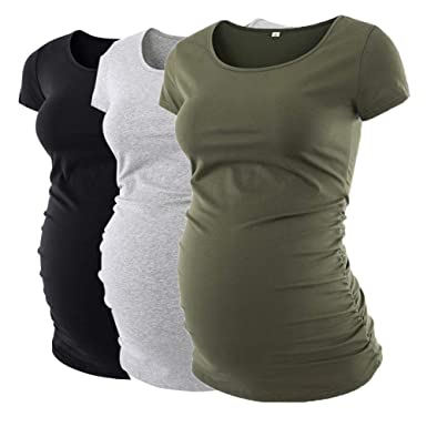1d7f775bf6e2a Image Unavailable. Image not available for. Color: Liu & Qu Womens Maternity  Classic Side Ruched T-Shirt Tops Mama Pregnancy Clothes