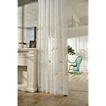 AliFish 1 Panel Birds and Trees Embroidered Decorative Sheer Curtains Home Fashion Window Traetment Elegant Country Style Voile Yarn Gauze Drape Panels for Kids Room Living Room W39 x L63 inch