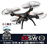 Drone with Camera Live Video X5SW Quadcopter - RC Helicopter FPV Live View Feed 720p 2MP HD Camera - 3D Flip Roll - 6 Axis Gyroscope - 4 Channels Radio Control - KiiToys USA Warranty & Tech Support