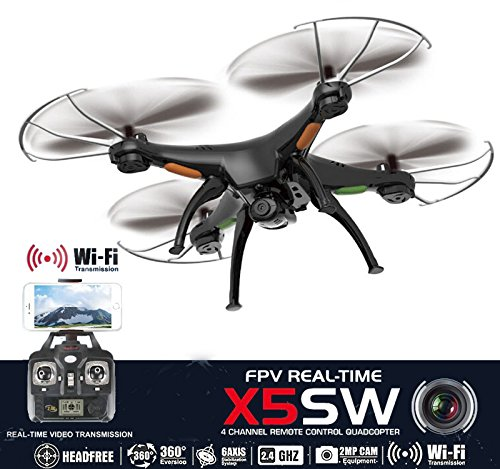 Drone with Camera Live Video X5SW Quadcopter - RC Helicopter FPV Live View Feed 720p 2MP HD Camera, 3D Flip Roll, 6 Axis Gyroscope, 4 Channels Radio Control, KiiToys USA Warranty & Tech Support