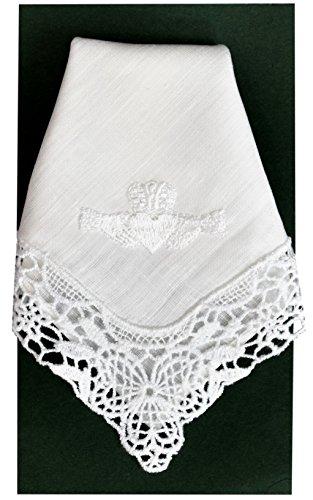 Thomas Ferguson Irish Linen - Ladies' Claddagh Lace Corner Handkerchief, BH173, White by Thomas Ferguson Irish Linen