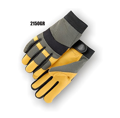 (12 Pair) Majestic GOLD DEERSKIN PALM GLOVES WITH GREEN KNIT BACK - 2X LARGE, GOLD(2150GR/12)