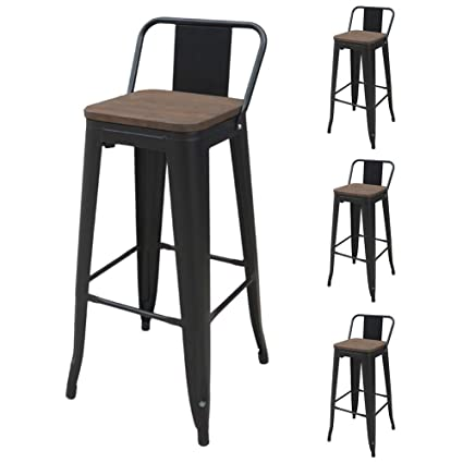 Outstanding Set Of 4 Metal Bar Stools With Wooden Seat 30 Inch Low Back Vintage Dining Chairs For Bars Bistros Cafes Stackable Home Garden Barstools Chairs Caraccident5 Cool Chair Designs And Ideas Caraccident5Info