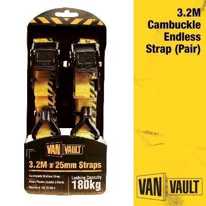 Van Vault Polyester Webbing Pair of Ratchet Straps with J-Hooks 3.2m x 25mm S10672