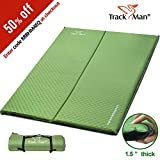Track Man Double Self-Inflating Sleeping Pad for Camping,Comfortable for 2 Person Sleeping Mat,Foam Pad Water Repellent Coating Lightweight Compact for Backpacking,Travel or Relaxing