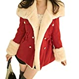 LUQUAN Womens College Style Slim Double-Breasted Peacoat Warm Thick Trench Coat Large,Red
