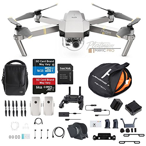 DJI Mavic Pro Platinum Fly More Combo Collapsible Quadcopter Drone Bundle with 2 Extra Batteries, Landing Kit and more