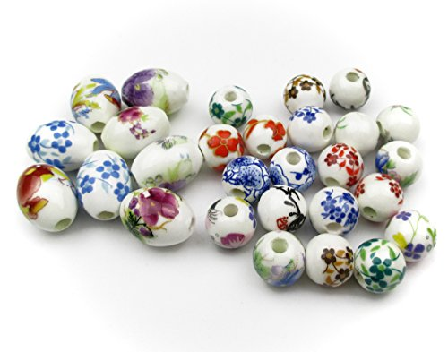 ALL in ONE 28pcs Round & Oval Exquisite Oblate Ceramic Porcelain Flower Decal Spacer Beads Traditional Chinese Style(mix (Exquisite Porcelain)