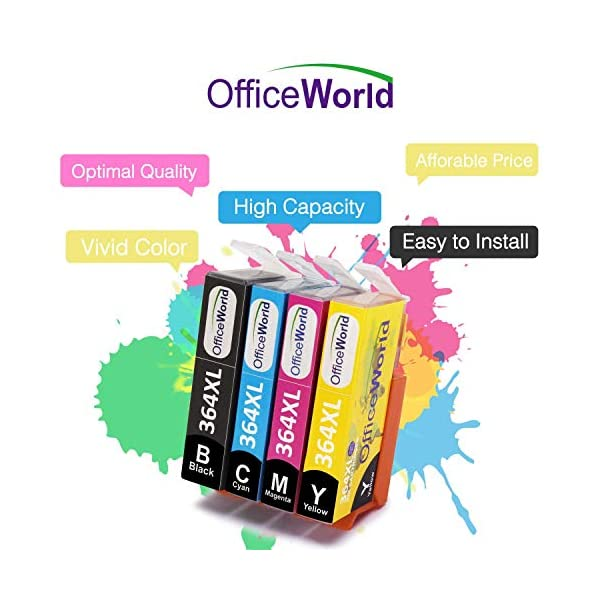 OfficeWorld Reemplazo para HP 364 364XL cartuchos de tinta Compatible para HP Photosmart 5520 7510 5510 7520 5522, HP Officejet 4620, HP Deskjet 3520 3070A (1 Negro, 1 Cian, 1 Magenta, 1 Amarillo) 8