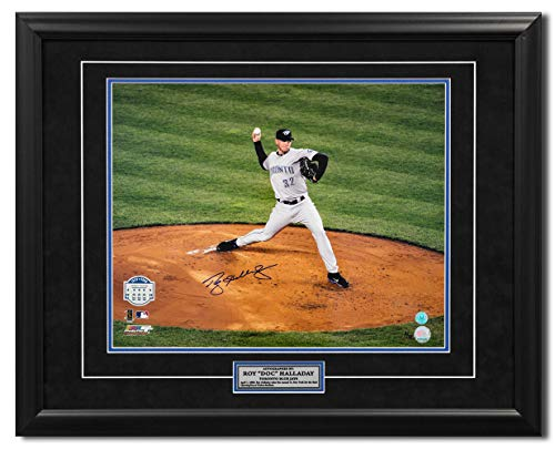 - AJ Sports World Roy Halladay Toronto Blue Jays Signed Opening Day Yankee Stadium 25x31 Frame