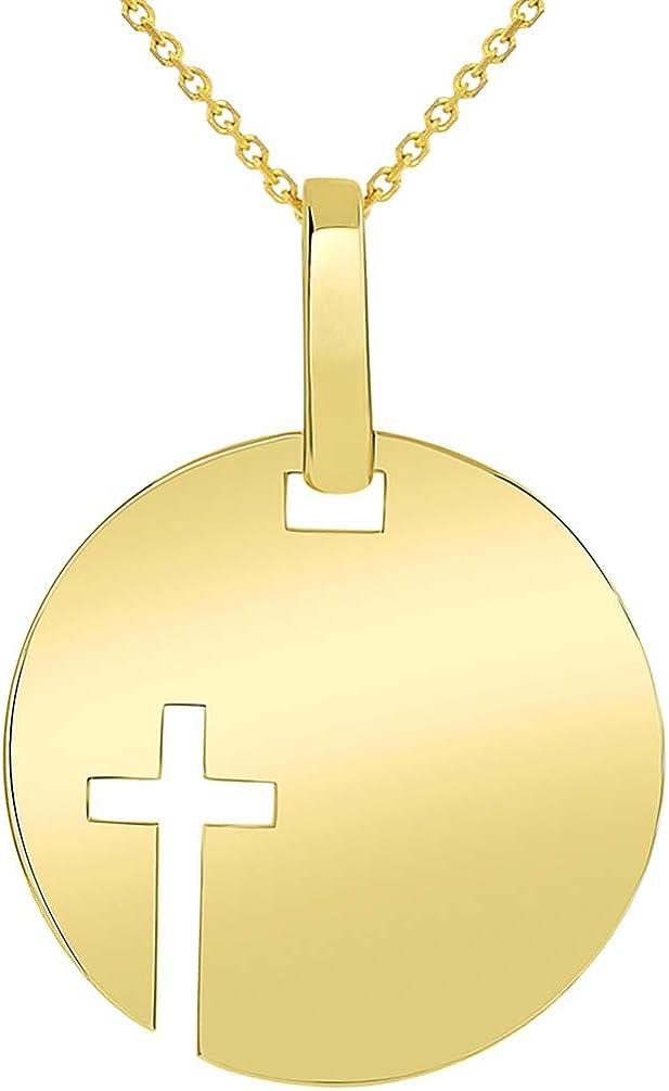 DiamondJewelryNY Sterling Silver Pierced Cross Disc 16-18 Necklace