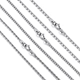 Reve 3mm Stainless Steel Rolo Cable Rope Chain Link Necklace for Men and Women 3PCS a Set, 20-30 inches (28, Silver Tone Stainless-steel)