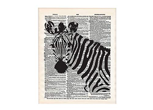 Zebra 8x10 Un Framed Print. On Upcycled Vintage Style Dictionary Page. Ideal for Animal Lovers and Those who Appreciate Jungle Animals and African Art