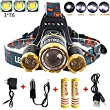 Super Bright 6000 Lumens Led Headlamp Flashlight , Fishing Head Lamp,Waterproof Hard Hat Light , Improved Led with Rechargeable Batteries for Reading Outdoor Running Camping Walking-Gold