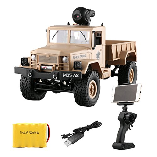 RC Military Truck Army With WIFI 720P Camera 1:16 4WD Off-Road Car RTR APP Control ,Racing Vehicles Car Toy Track Cars Toys Birthday Gift for Kids Toddlers Boys,Car Toys for 1 Year Old (Yellow) by DICPOLIA (Image #2)