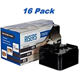 Raise It - Black Furniture Risers 16 Pack - for the Bed, Desk, Table or Dresser - Eliminating Back Pain When Sitting at a Desk or Table, for Extra Storage Space Under-Bed or Under Any Furniture, or for Elderly to Get in or Out of Bed Easier
