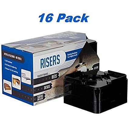 Raise It   Black Furniture Risers 16 Pack   For The Bed, Desk, Table