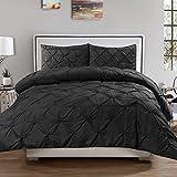 Sweet Home Collection 3 Piece Luxurious Pinch Pleat Decorative Pintuck Comforter Set, Full/Queen, Black