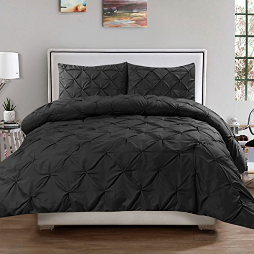 Sweet Home Collection 3 Piece Luxury Pinch Pleat Pintuck Fashion Duvet Set, Queen, Black (Comforter White Black Duvet And)